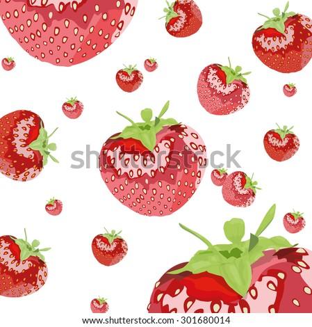strawberries flying - stock vector