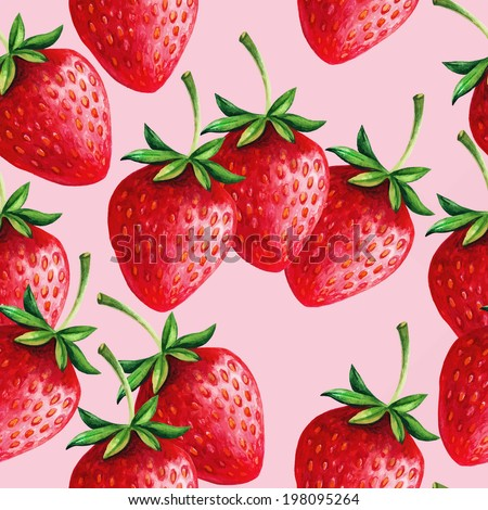 Strawberries seamless hand drawn vector pattern with pink background - stock vector