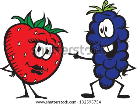Strawberry and Grapes - stock vector