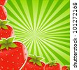 Strawberry And Green Sunburst Background, Vector Illustration - stock vector