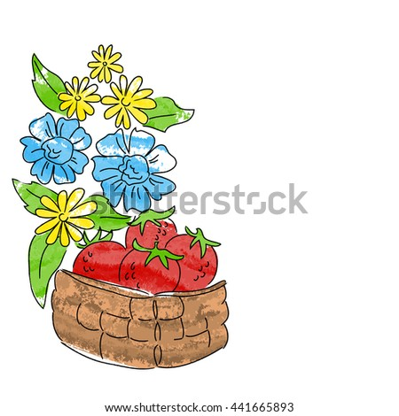 strawberry basket yellow blue flowers holiday vector illustration