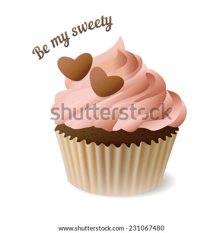 Strawberry chocolate cupcake with hearts,EPS10 - stock vector