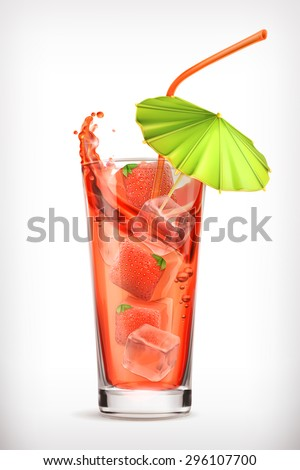 Strawberry cocktail, vector icon - stock vector
