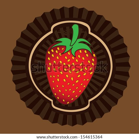strawberry design over brown  background vector illustration   - stock vector