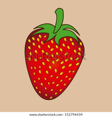 strawberry design over pink background vector illustration  - stock vector