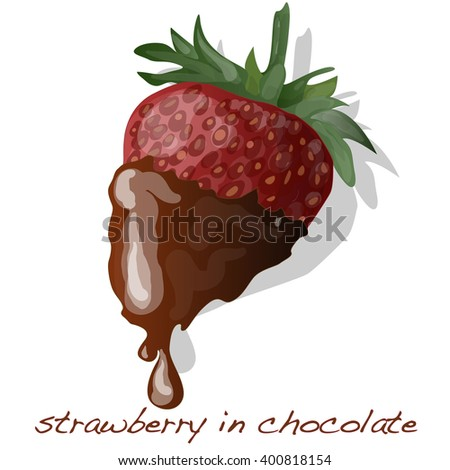 strawberry dipped in chocolate fondue vector isolated