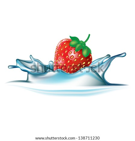 strawberry falling in water splash isolated on white - stock vector