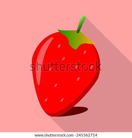 strawberry flat style Icon and illustration
