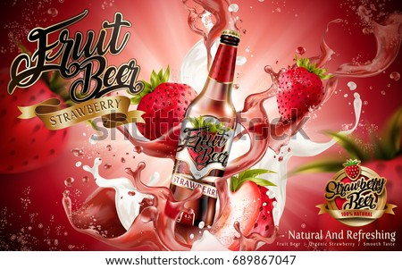 Strawberry fruit beer ads, premium fruit beer with strawberries and splashing beer in 3d illustration