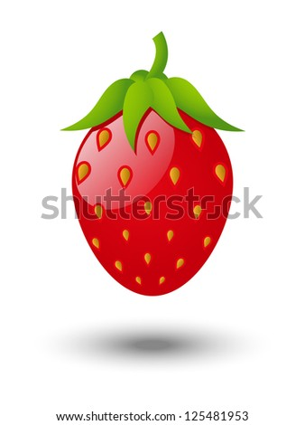 Strawberry glossy icon on white background