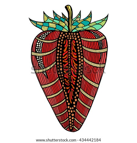Strawberry hand drawn pattern for coloring book. Colored ornamental fruit. Vector illustration, isolated on white