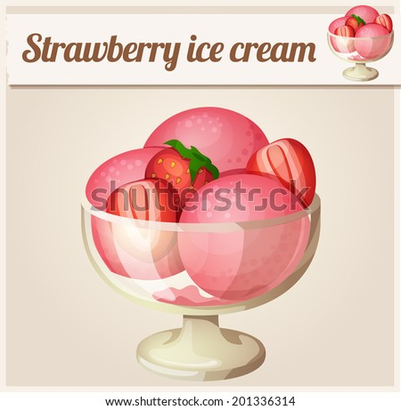 Strawberry ice cream.  Detailed Vector Icon. Series of food and drink and ingredients for cooking. - stock vector