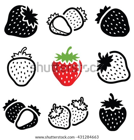 Strawberry icon collection - vector outline and silhouette