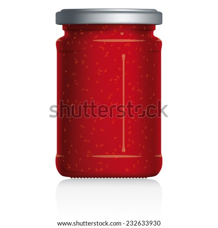 Strawberry Jam Jar vector visual illustration, Drawn with mesh tool. Fully adjustable & scalable. - stock vector