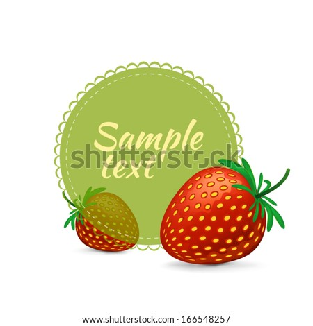 Strawberry label on white background