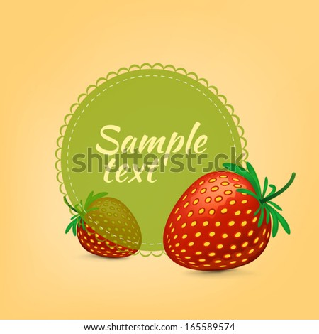 Strawberry label. Vector element.