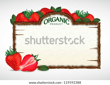 strawberry menu board - stock vector