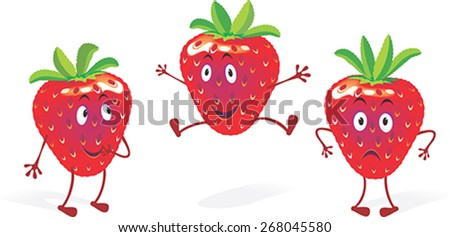 Strawberry Mood. Cartoons of strawberry in three different stages of humour. No gradient fills. - stock vector