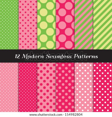 Strawberry Pinks, Green and Lime Green Mixed Polka Dots and Stripes Seamless Patterns. Perfect for Strawberry theme girl's birthday party or baby shower decor. Pattern Swatches made with Global Colors - stock vector