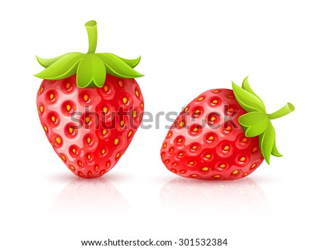 Strawberry red ripe fruits isolated. Eps10 vector illustration. Isolated on white background - stock vector