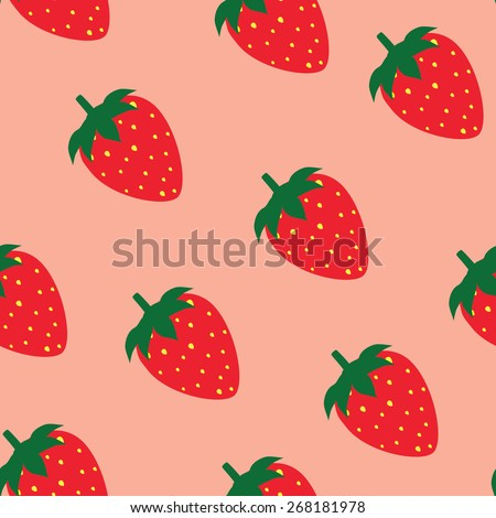 Strawberry seamless pattern vector pink background, strawberry background - stock vector