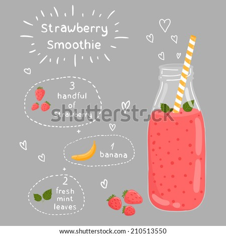 Strawberry smoothie recipe. With illustration of ingredients. Doodle style - stock vector