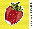 strawberry sticker with green background of dark green dots - stock vector