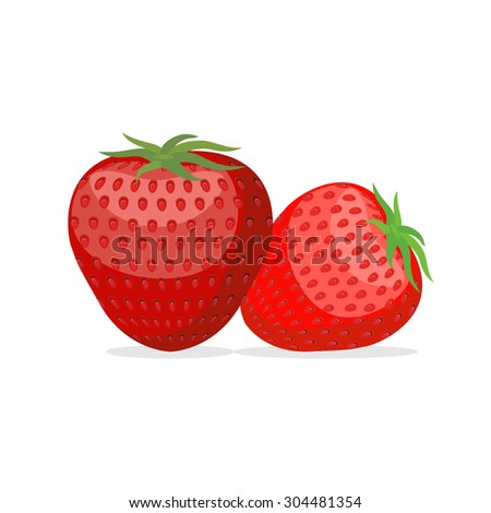 Strawberry. Two fresh red, ripe strawberries on white background. Vector illustration of berries - stock vector