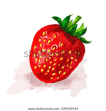 strawberry  Vector illustration  hand drawn  painted watercolor - stock vector