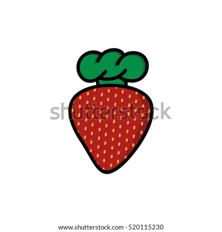 strawberry with chef hat cartoon logo logotype theme