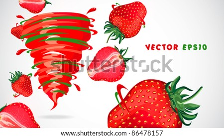 strawberry with juicy twister - stock vector