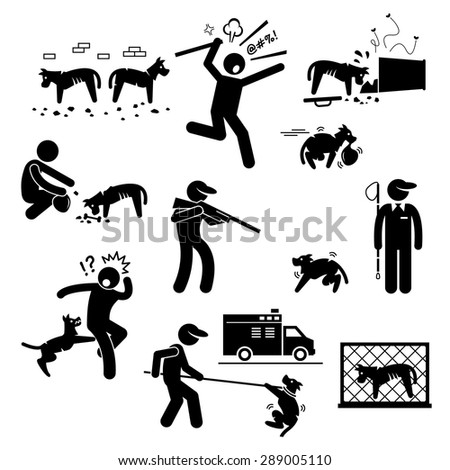 Stray Dog Problem Issue Stick Figure Pictogram Icons - stock vector