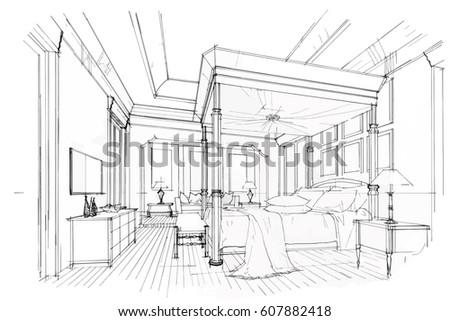 Streaks Bedroom Black And White Interior Design Vector Sketch
