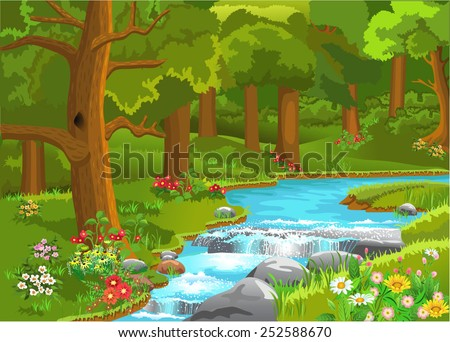 stream flowing through the forest - stock vector