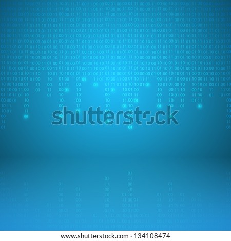 Stream of binary code. EPS10 vector background. - stock vector