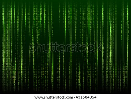 Stream of binary code on screen. Abstract vector background. Data and technology, decryption and encryption, computer matrix background with the green symbols and numbers. Vector illustration. EPS 10 - stock vector