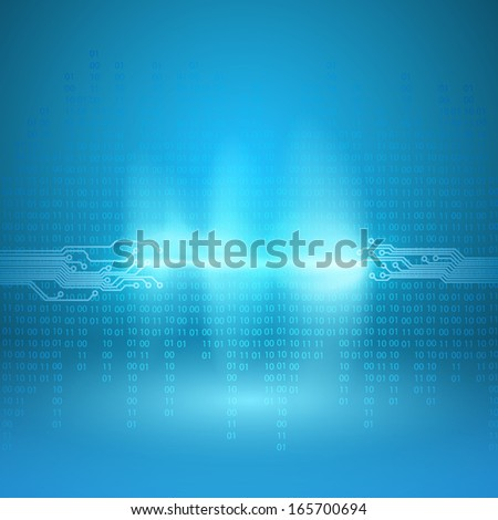 Stream of binary code with a circuit board texture and current arc. EPS10 vector background. - stock vector