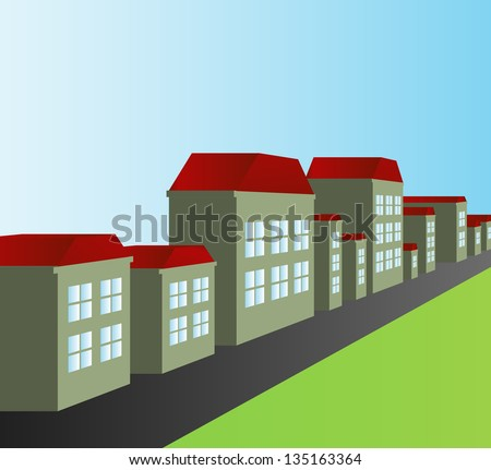 Street and houses vector background - stock vector