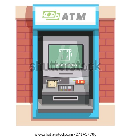 Street ATM teller machine with current operation icon on the screen. Bank check placed to a slot pictogram. Flat style vector illustration. - stock vector