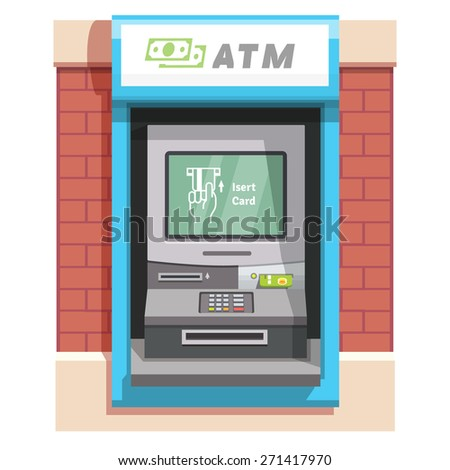 Street ATM teller machine with current operation icon on the screen. Hand inserting credit card pictogram. Flat style vector illustration. - stock vector