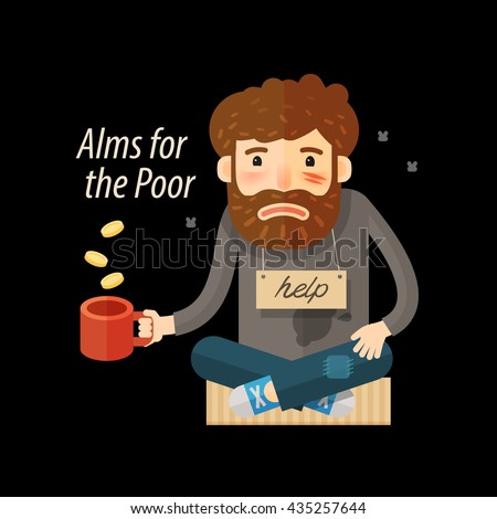 Street beggar. Unemployed or homeless icon. Alms vector illustration - stock vector