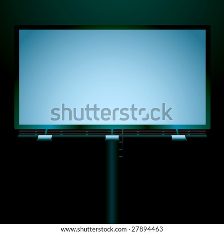 Street billboard iluminated at night but with room for your own advert or text - stock vector