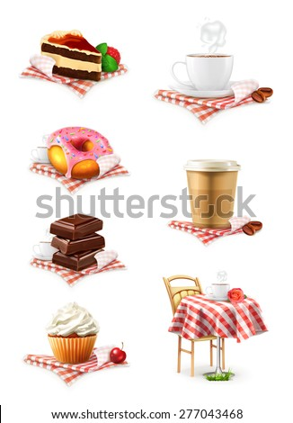 Street cafe, chocolate, cupcake, cake, cup of coffee, donut, vector icon set - stock vector