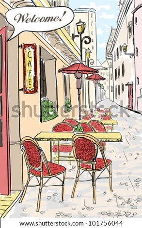 Street cafe in old town sketch illustration. - stock vector