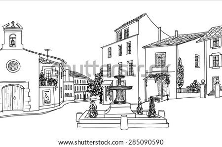 Street cafe on old city square. Cityscape - houses, buildings and tree on alleyway. - stock vector