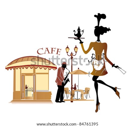 Street cafe with a stylized waitress and a musician - stock vector