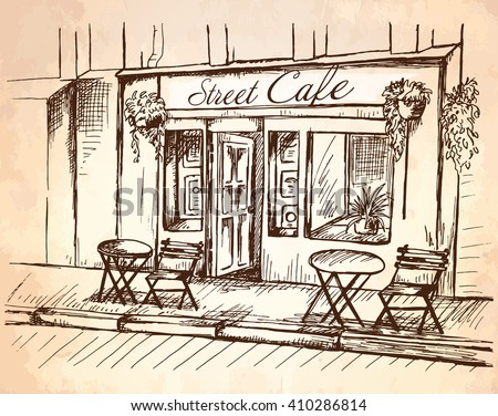 Street cafe without people in old town, graphic vector illustration, sketch on vintage paper background - stock vector