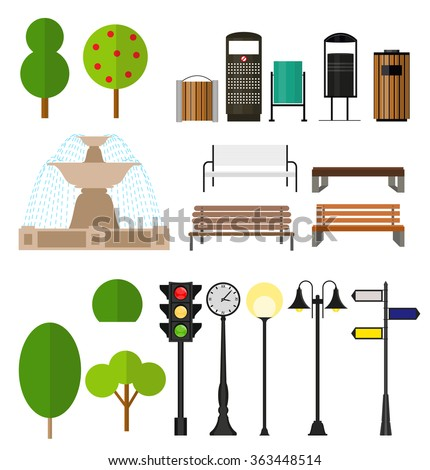 Street City Flat Design Elements. Vector Illustration EPS10 - stock vector