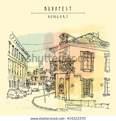 Street corner in Budapest city, Hungary, Europe. Architectural hand drawing. Travel sketch. Book illustration. Vintage touristic postcard, poster template in vector