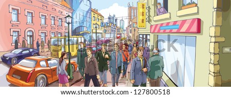 Street Crowd. A lot of people are going by the crowded city street. - each of the main characters and the background are placed on a different layers. - stock vector
